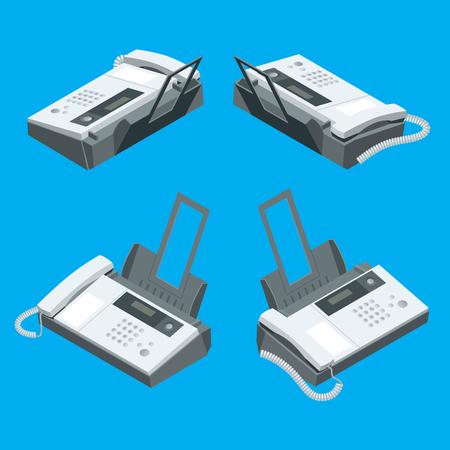 fax machine: Fax machine, office equipment. Flat 3d vector isometric illustration