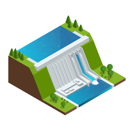 Hydroelectric Power Plant. Factory Electric. Water Power Station Dam Electricity Grid Energy Supply Chain. Flat 3d vector Illustration Isometric Building Vettoriali