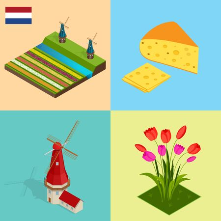 dutch landmark: Dutch windmill and colorful tulips flowers, Netherlands. Symbols Holland cheese, windmill, tulips, flag. Flat 3d vector isometric illustration.