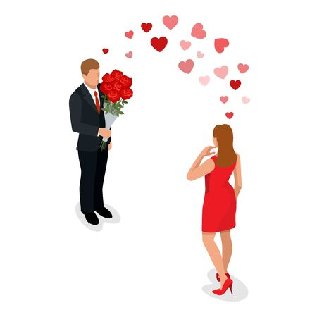 Romantic couple in love meeting. Love and celebrate concept. Man gives a woman a bouquet of roses. Romantic lovers dating. Vector flat 3d isometric illustration Illustration