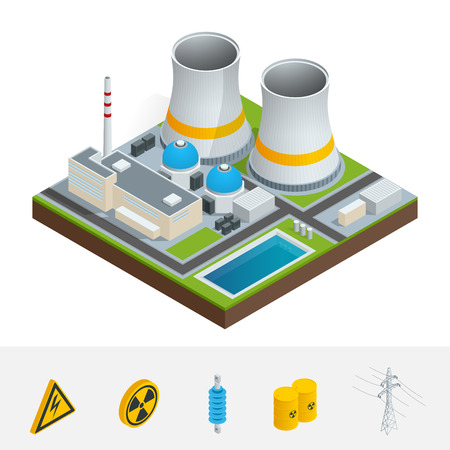vector nuclear: Vector isometric icon, infographic element representing nuclear power station, reactors, power lines and nuclear energy generation related facilities. Industrial landscape