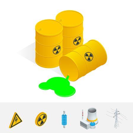 atomic energy: Debris Atomic Energy. Danger radiation. Flat 3d vector isometric illustration