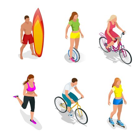 one wheel bike: Man is standing with a surfboard in his hands. Roller Skating girl. One-wheeled Self-balancing electric scooter. Girl running. Active isometric vector People. Cyclists on bicycle. Healthy Lifestyle Illustration