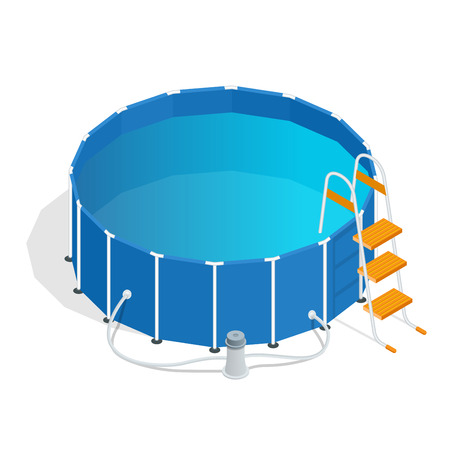 3d swimming pool: Portable plastic swimming pool isometric 3d vector illustration