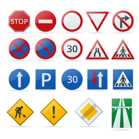 alerts: European traffic signs collection. Signs of danger. Mandatory signs. Signs of obligations. Signs of alerts