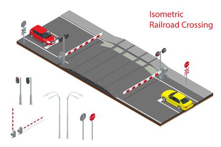Vector illustration isométrique du passage à niveau. Un passage à niveau de chemin de fer, avec des barrières fermées et feux clignotants