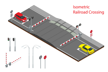 Vector isometric illustration of Railway crossing. A railway level crossing, with barriers closed and lights flashing Vectores