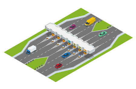 road barrier: Highway toll. Turnpike tollson. Road payment checkpoint with toll barriers on the highway, cars and trucks. Flat 3d vector isometric illustration.