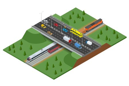 Railway road and track with the traffic. Modern high speed train and Freight Train. Flat 3d vector isometric concept