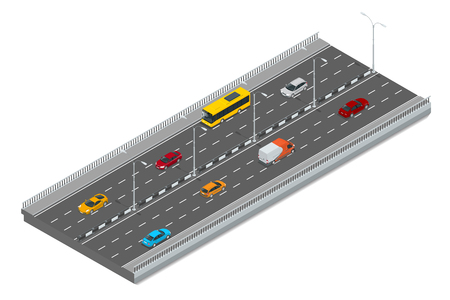 truck on highway: Highway traffic. Highway transportation with cars and Truck. Flat 3d vector isometric illustration