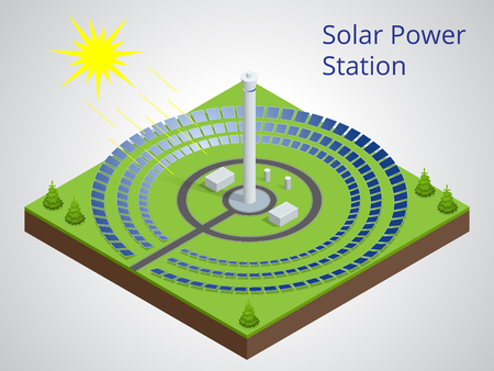 solar power station: Vector isometric illustration of a solar power station. Extraction of energy from renewable sources. Generation of electricity using solar energy