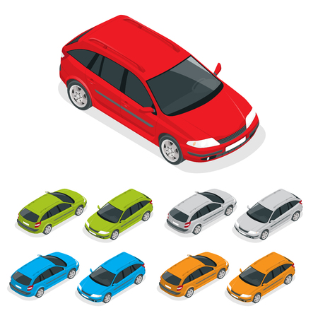 Crossover car isolated on white. Flat 3d isometric illustration Vettoriali