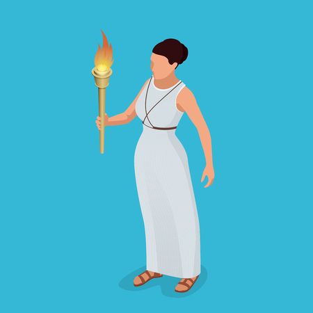 Greek woman with a torch in her hand. Woman archer. The Greek goddess - Artemis. Goddess of the Greek pantheon. Flat 3d isometric illustration. Symbol of victory Illustration
