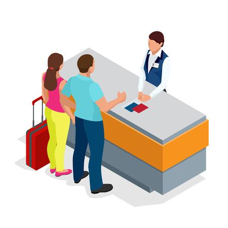 Airport terminal concept met passagiersvervoer. Paspoort controle. Flat isometrische 3d geïsoleerde illustratie. Vector Illustratie
