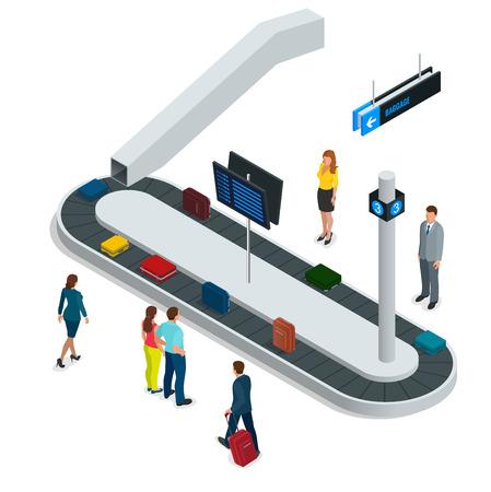 Maleta en la cinta transportadora de equipaje en el reclamo de equipaje en el aeropuerto. Piso ilustración isométrica 3d