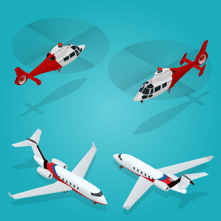 Passenger Airplane. Private jet. Passenger Helicopter. Isometric Transportation. Aircraft Vehicle. Air Transportation illustration