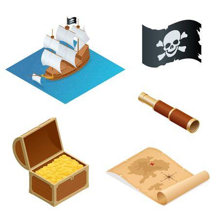 Isometrischen Piraten Zubehör flache Ikonen. Sammlung mit hölzernen Schatztruhe und schwarz Jolly Roger Flagge. Illustration.
