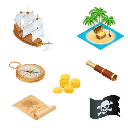 jolly roger pirate flag: Isometric Pirate accessories flat icons. Collection with wooden treasure chest and black jolly roger flag. illustration.