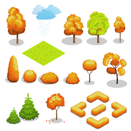Isometric autumn tree set. Landscape constructor kit. Different trees for make design