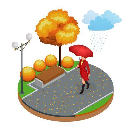 Beautiful girl with umbrella at autumn park. Isometric illustration concept