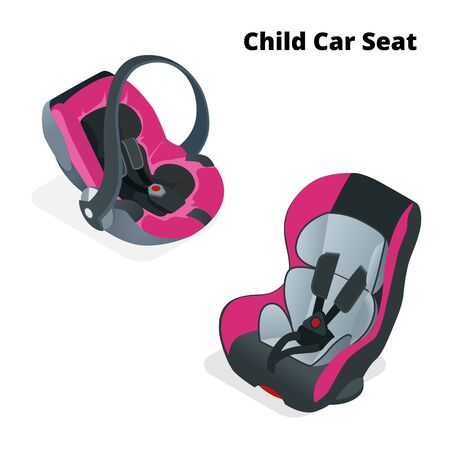 car seat: Safety Car seat for baby and kid, isolated on white background. Flat 3d isometric illustration. Car seat 3 in 1 and group 0.