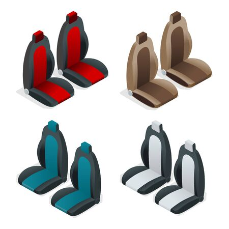passenger compartment: Modern set of car seat icons. Editable automotive collection. isometric 3d flat illustration