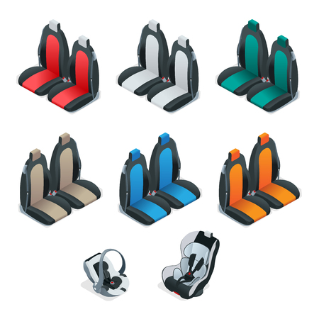 passenger compartment: Modern set of car seat icons. Editable automotive collection. isometric 3d flat illustration. Safety Car seat for baby and kid