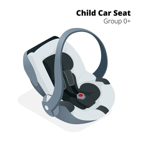 car seat: Newborn baby Car Seat, isolated on white, isolated on white background. Flat 3d isometric illustration. Car seat group 0.