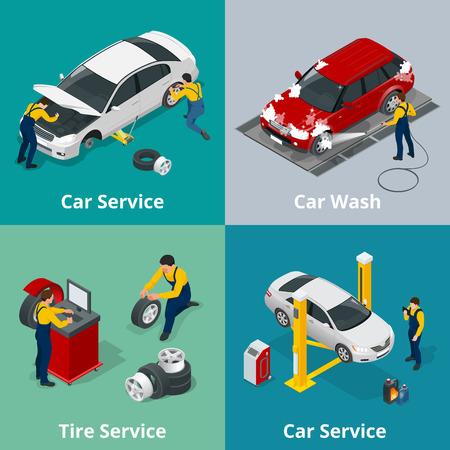 자동차 수리 서비스 센터, 타이어 서비스, 세차 및 자동차 수리 역학에서 장면 근로자와 평면 가로 배너. 웹용 벡터 아이소 메트릭 배너