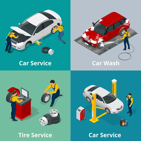 Flat horizontal banners with scenes workers in Car repair service center, Tire service, car wash and car repair mechanics. Vector isometric banners for web Vettoriali