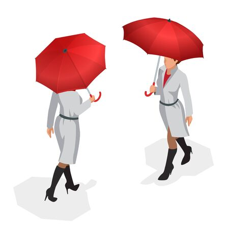 red umbrella: Isometric woman in autumn clothes with a red umbrella. Season autumn. Vector illustration