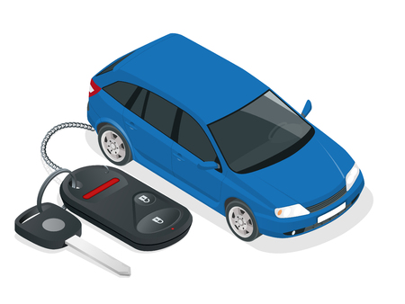 Vector car rental or sale concept. Car and Car Keys and charm of the alarm system. Flat 3d isometric vector illustration