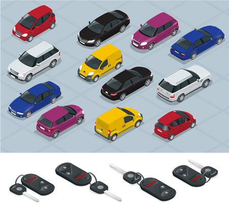 Car and Car keys icons. Car keys. Flat 3d isometric vector high quality city transport car icon set. Car, van, cargo truck, off-road. Transport set. Set of urban public and freight transport