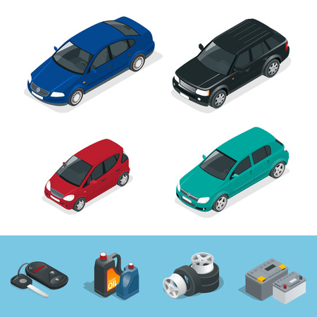 Car isometric. Tire service car auto, repair icons flat set isolated vector isometric illustration. Consumables for car
