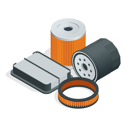gasket: Car filters isometric set. Car parts. flat 3d vector illustration