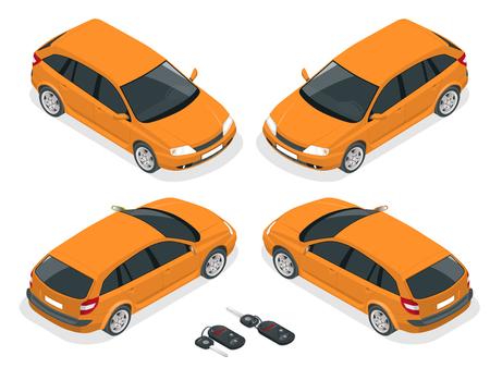 hatchback: Isometric hatchback and car keys. Vector 3d flat transport. Car hatchback