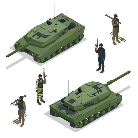 illustraton: Tank american and soldiers. Flat 3d vector isometric illustraton
