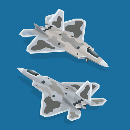 Military airplane at flying. Flat 3d isometric high quality military vehicles machinery transport