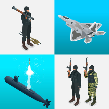 self  defense: Isometric icons submarine, aircraft, tanks, soldiers. Flat 3d high quality military vehicles machinery transport