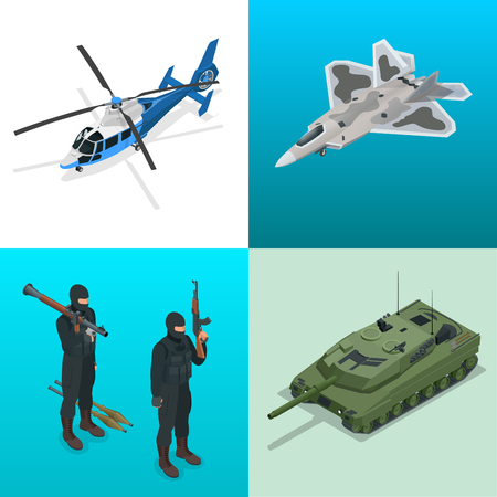 self  defense: Isometric icons helicopter, aircraft, tank, soldiers. Flat 3d vector high quality military vehicles machinery transport Illustration