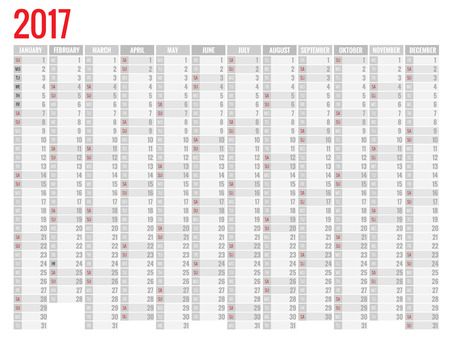 yearly: Yearly Wall Calendar Planner Template for 2017 Year. Vector Design Print Template. Week Starts Sunday