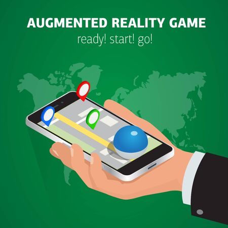 isometry: Flat isometric mobile game catch illustration. Human hand hold smartphone. Virtual MMOG game 3d isometry concept.