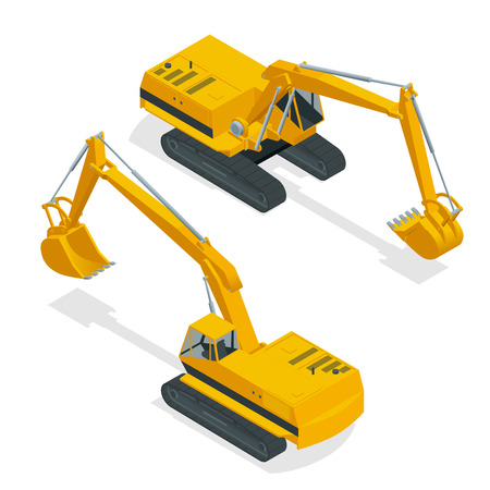 navvy: Isometric crawler excavator. Special machinery. Vector 3d flat isolated equipment for the construction industry consisting.
