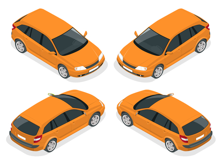 Isometric car. Hatchback car. Flat 3d isometric high quality city transport icon set.