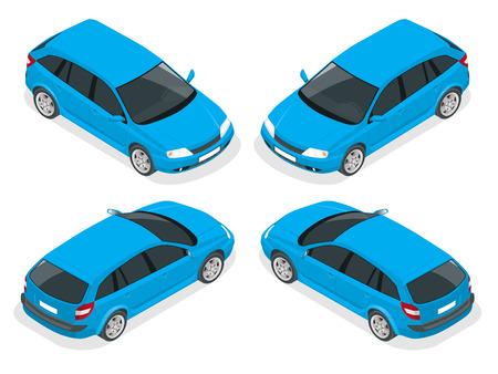 hatchback: Isometric car. Hatchback car. Flat 3d isometric high quality city transport icon set.
