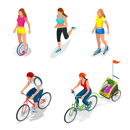 one wheel bike: Isometric Bicycle. Family Cyclists. Roller Skating girl. Electric One Wheel Self-Balancing Unicycle Scooter. Girl running. Active isometric vector People. Healthy Lifestyle.