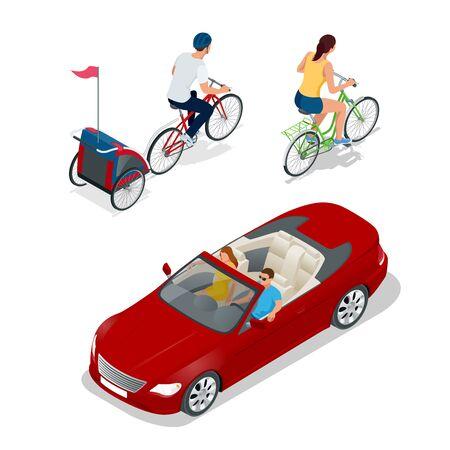 Bicicletta con trasporto bambini. Isometrica biciclette. I ciclisti familiari. auto cabriolet. Trasporto per i viaggi estivi. Sport veicolo auto. Piatto illustrazione vettoriale 3D