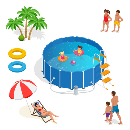 boy swim: Two little girls deftly swim in pool, palms, girl and boy, father, mather, Summer vacation concept. Portable plastic swimming pool isometric 3d vector illustration Illustration