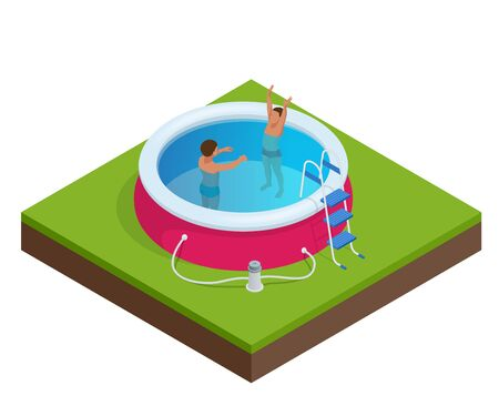 kiddie: Two little boys deftly swim in pool. Summer vacation concept. Portable plastic swimming pool isometric 3d vector illustration Illustration