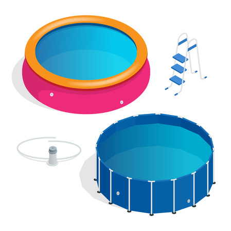 kiddie: Portable plastic swimming pool isometric 3d vector illustration.